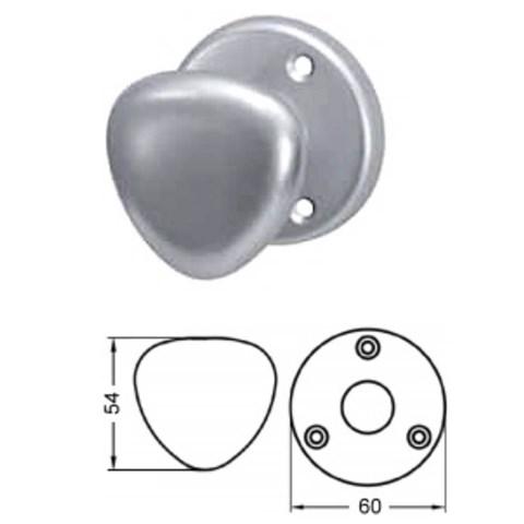 Door knob, aluminum, triangular, Rosette 60mm