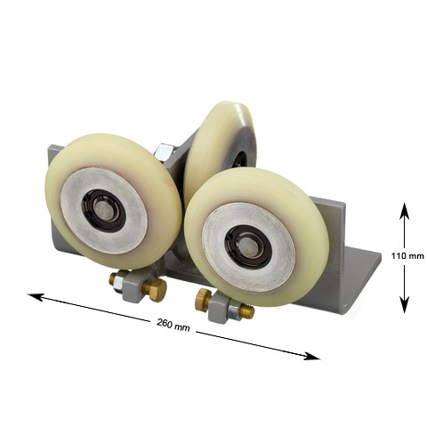 Roller guide, T-guide, car, 118mm bevelled rollers, for guide 5-26mm