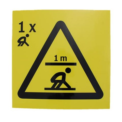 Sign, rescue space, 1m - 1 person kneeling, plastic