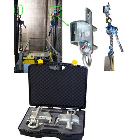 Lasthaken Schienenbefestigung, 2500kg, Set im Koffer